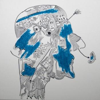 Ink/ Oil pastels on paper 15cm*15cm